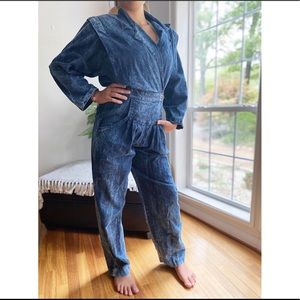 Vintage 80's Dark Stonewash Denim Jumpsuit
